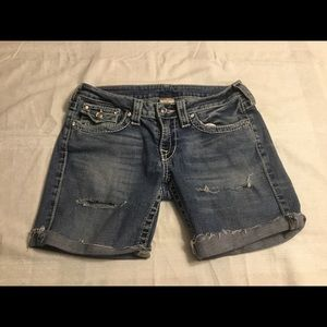 True Religion Distressed Cut Off Jean Shorts Sz 29